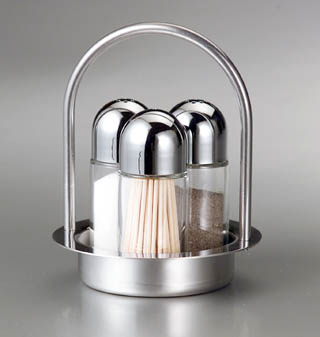 Stainless steel glass salt pepper and toothpick dispenser - Stainless steel toothpick dispenser ...