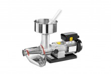 Electric tomato squeezer for family and small community demands size n° 3    •Tinned cast iron body and auger  •Stainless steel hopper and collector  •Stainless steel filter  •220-240 Volt – 50 Hz single-phase asynchronous motor (motors with other voltages, frequencies and different power are available on request)  •Easily disassembled for quick and easy cleaning   •Optional meat mincer body  •MODEL ALSO AVAILABLE WITH MOPLEN HOPPER AND COLLECTOR   • Weight: 9,0 kg • Dimensions: 33x53x23 cm • Motor power: 300 w • Worm revolutions per minute: 160 r.p.m.