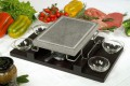 Ilsa Convivio Rectangular  Volcanic Cooking Stone set With Stand and black wooden tray