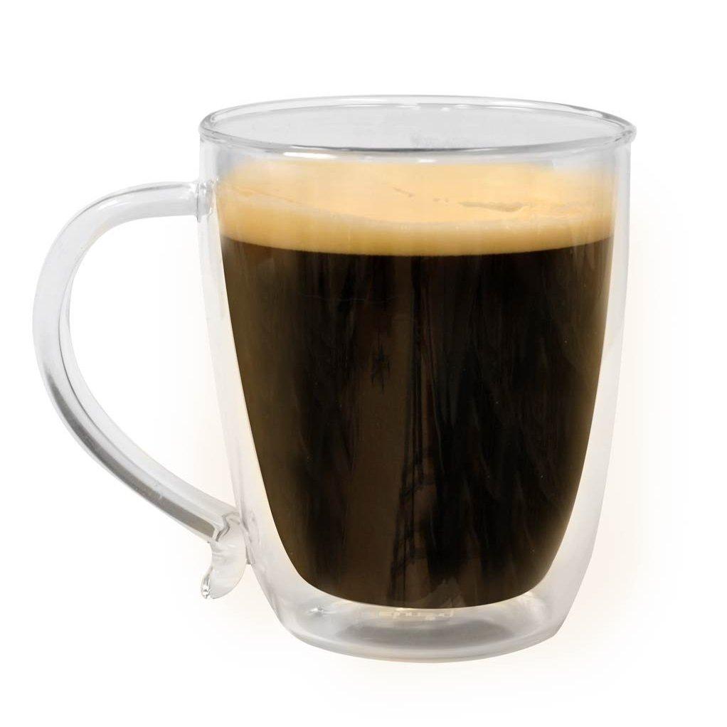 double wall borocilicate 16 ounce glass coffee mug set of 2. Black Bedroom Furniture Sets. Home Design Ideas