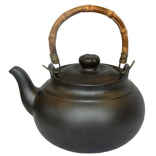 Joyce chen 2 quart ceramic tea kettle with bamboo handle ebony - Bamboo teapot handles ...